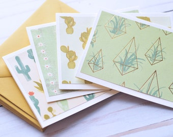 Cactus Note Cards // Set of 4 // Blank Cards // Cactus Stationary // Thank You Cards // Just Because // Thinking of You