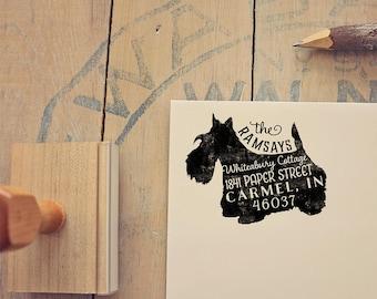 Scottish Terrier Address Stamp, Scottie Dog Return Address Stamp, Dog Lover Gift, Rubber Stamp, Personalized Pet Address Stamp