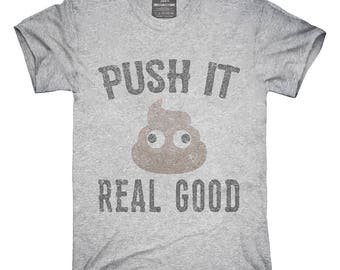 Funny Poop Emoji Push It Real Good T-Shirt, Hoodie, Tank Top, Gifts