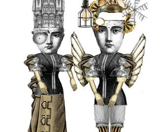 Steampunk Time travel twins paper dolls instant download paper puppets articulated dolls