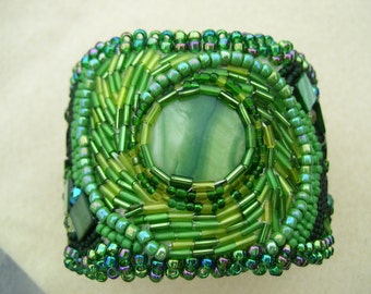 Green with Envy, bead embroidered cuff bracelet.