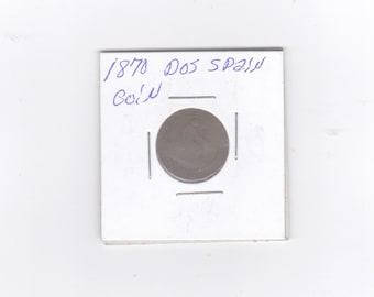 1870 Dos spain copper coin