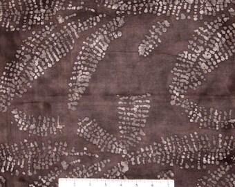 Batik Fabric - Leaves on Coffee Brown - Merrivale Cotton YARD