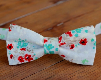Boys Floral Bow Tie - Boys tan gray bow tie - cotton bow tie - red blue green brown gray - toddler bow tie - infant bowtie - ring bearer tie