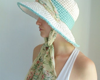 Crochet PATTERN -  Seaside Sunhat - Extra Wide Brim with Scarf Tie