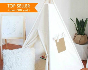 Ready to Ship, Natural Canvas Teepee, Play Tent, Kids Teepee Tent, Childrens Teepee, Teepee Tent, Teepee, Tipi, Playhouse, Canvas Teepee