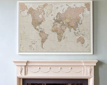 Antique World Map - vintage map, home decor, bedroom, living room, world map, wall map gift for him, gift for her, antique, free shipping