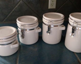 White Cannisters Latching Lids