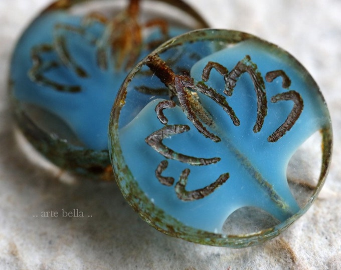 BLUE SILK LOTUS .. New 2 Premium Picasso Czech Glass Lotus Coin Beads 18mm (6338-2)