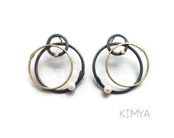 Geometric Earrings - Contemporary Earrings - Modern Pearl Earrings - Oxidized Silver Earrings - Unusual Earrings - Contemporary Jewelry