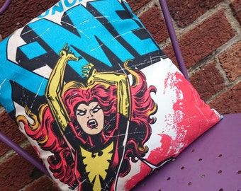 Pheonix Jean grey X Men 14x14 Pillow Cushion Cover Upcycled Tshirts Eco