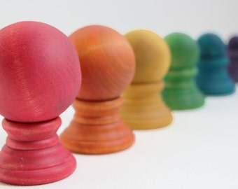 Balance Balls - A Montessori and Waldorf Inspired Wooden Ball Balance and Differentiation Game