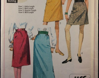 Vintage Sewing Pattern 1960's Woman's Skirt Size 10 Simplicity 7725
