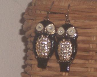 Vintage pave crystal OWL EARRINGS
