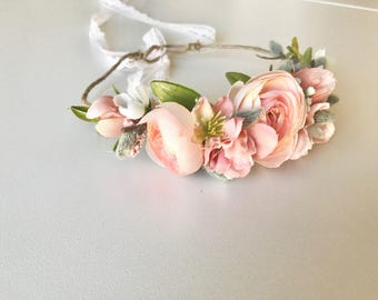 Flower crown- Coral kate flower halo- bridal flower crown- Well dressed wolf- baby flower crown- Flower Girl crown- wedding headpiece