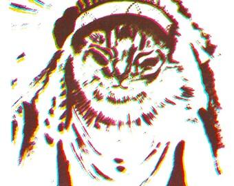 Cat Chief Glow-in-the-dark First Settler Native American Print Multi Color Silk Screen Handmade Indian Kitten The Desert Moon Headdress