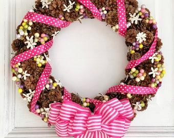 Summer Pinecone Wreath - Spring Wreath - Pinecone Wreath - Summer Wreath - Everyday Wreath - Year Round Wreath - Front Door Wreath - Gift