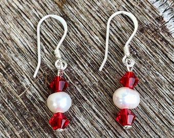 Sterling Silver Swarovski & Freshwater pearl earrings