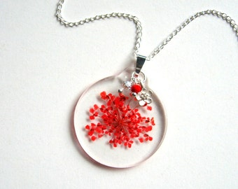 Red Queen Anne's Lace - Real Flower Garden Necklace - botanical jewelry, flower necklace, Valentine's Day, Nature inspired, resin, eco, ooak