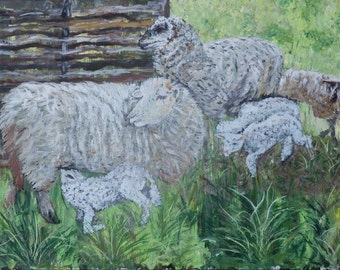 Original Large Oil Painting. Flock of sheep