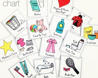 Girl - CHORE CHART MAGNETS - Basics - Chore Chart - Make Your Own - Printable // Instant Download