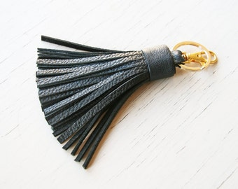Leather Keychain Tassel Keychain Black Leather Tassel Key Fob Bag Purse Tassel Charm