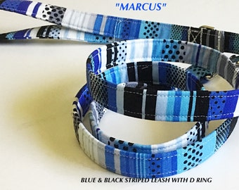 Blue & Black Striped Dog Leash with or without a D Ring