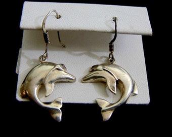 Womens Vintage Estate Sterling Silver Dolphin Earrings 6.2g E1654