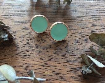 Mint & Copper Clay Studs