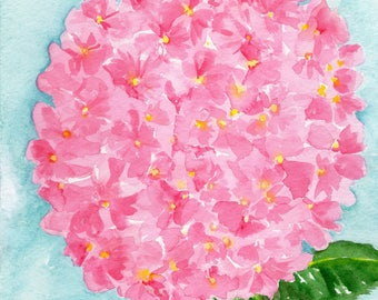 Hydrangea watercolors paintings original 8 x 10 Pink Hydrangea Watercolor Painting, Flower Painting, Pink Wall Art, hydrangeas