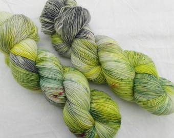 Hand dyed sock yarn, sockweight singles 100% merino