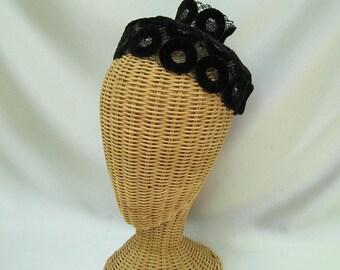 Vintage Ladies Hat Black Velvet Fascinator Miss Sally Victor