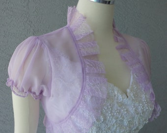 Wedding Bolero Shrug Lilac Chiffon Lace Trim Cap Sleeves Size M Ready to ship