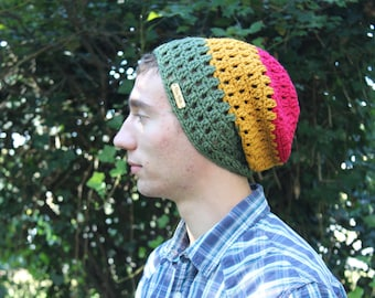 The BELMAR Beanie // Crocheted Mesh Slouchy Hat in Rasta Colors