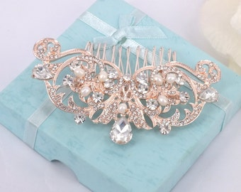 Annabelle - Rhinestone and Freshwater Pearl Bridal Comb