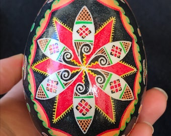 Fish and surfboards goose egg pysanka for Easter and everyday art enjoyment