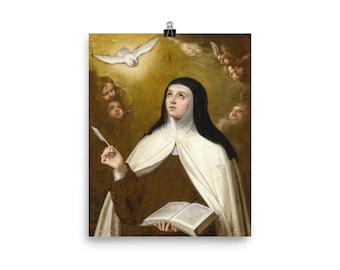 Saint Teresa of Avila surrounded by Angels - poster - art print - St Teresa of Avila - Murillo - St Teresa print - catholic saints serie