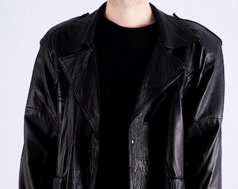 Vintage Biker Leather Jacket 80s gr. M
