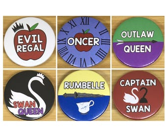 Once Upon A Time Fandom Ship 38mm badges Oncer, Swan Queen, Evil Regal, Rumbelle, Outlaw Queen