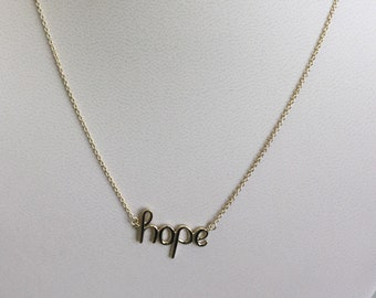 Women Girls 14k Solid Gold Hope Pendant Necklace Chain Rolo 16 inches long