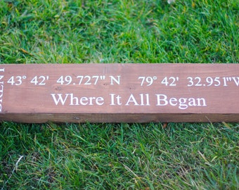 Longitude Latitude Sign.  Coordinates Sign.  GPS Sign.  Location Sign. GPS Coordinates. Unique Wedding Gifts. Custom Coordinates Sign.