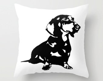 Dachshund Pillow, Sausage Dog Pillow, Weiner Dog Decor, Monochrome Cushion, Dachshund Gift, Doxie Decorative Pillows For Couch, Mother Gift
