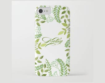 Custom Name Device case for iPhone 5/5s, iPhone 6/ 6s, iPhone 7/ 7s, Samsung, Galaxy, Phone, Green, White, Plants, Nature, Gift, Christmas