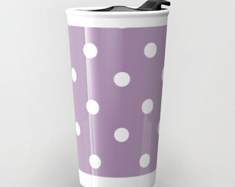 Purple Polka Dot Travel Mug - Ceramic Mug- Travel Mug -  Polka Dots - Hot or Cold Travel Mug - 12oz Travel Mug -Made to Order