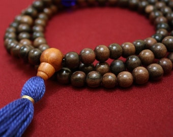 Tiger Ebonywood Mala w Ultramarine Blue Czech Glass - Buddhist Prayer Beads -  Rosary Necklace