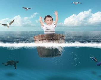 Ocean tub, lost at sea, digital water backdrop, kids, fantasy, adventures, fun, cool, marine