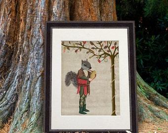 Woodland Critter Art - Squirrel Minstrel - Squirrel print Squirrel art Woodland Nursery decor Squirrel gift Cute animal art for kids rooms