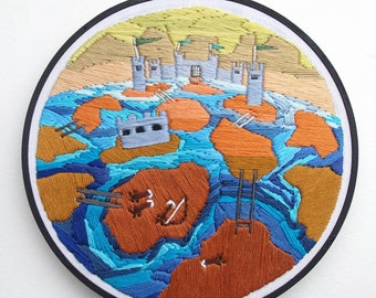 """Hand Embroidery, Fiber Art, Wall Hanging, 7-inch Embroidery Hoop, """"Aftermath"""""""