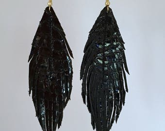 Black patent LEATHER feather earrings with lambskin soft leather feather earrings leather earrings lightweight dangle earrings