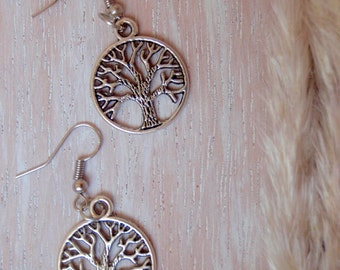 "Silver Earrings ""Tree of Life""/Pendientes Tree of Life-hippy hook in sterling silver-Boho style"